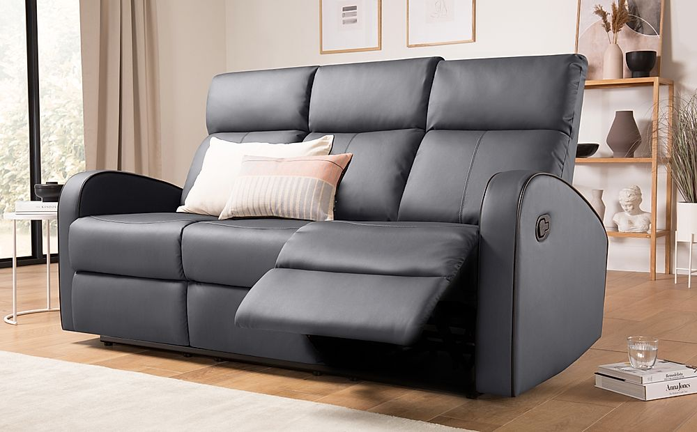 Ashby Grey Leather Recliner Sofa 3 Seater