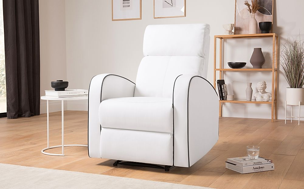 Ashby White Leather Recliner Armchair