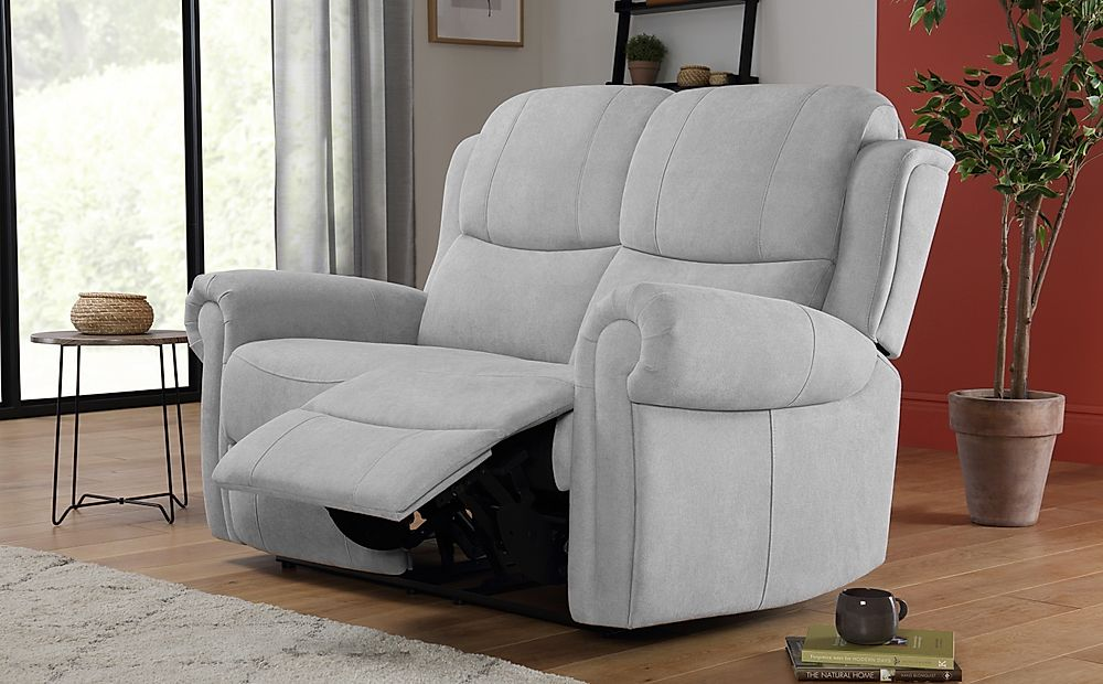 Hadlow Dove Grey Plush Fabric 2 Seater Recliner Sofa