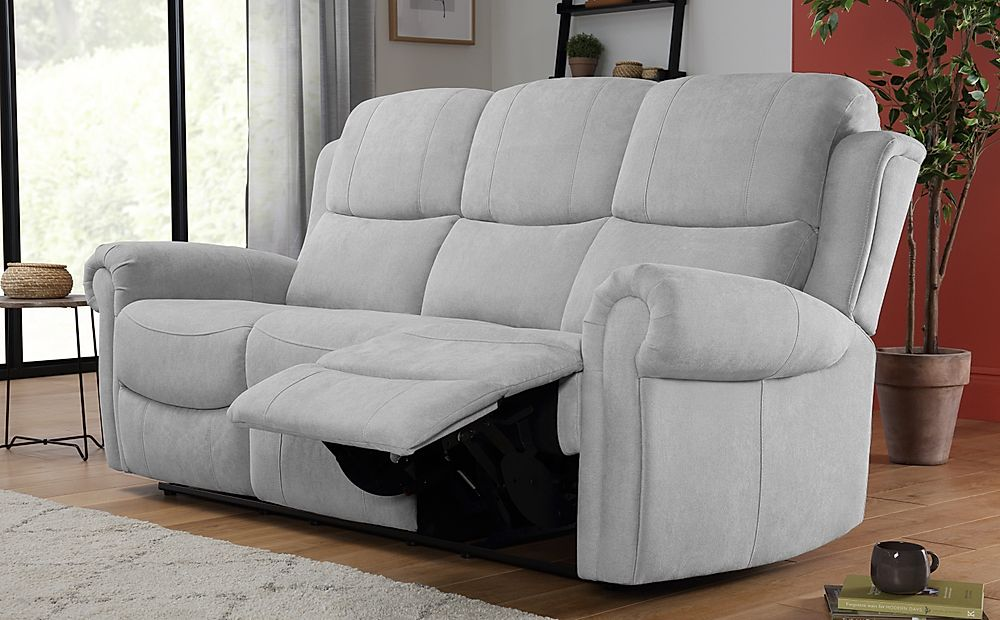 Hadlow Dove Grey Plush Fabric 3 Seater Recliner Sofa