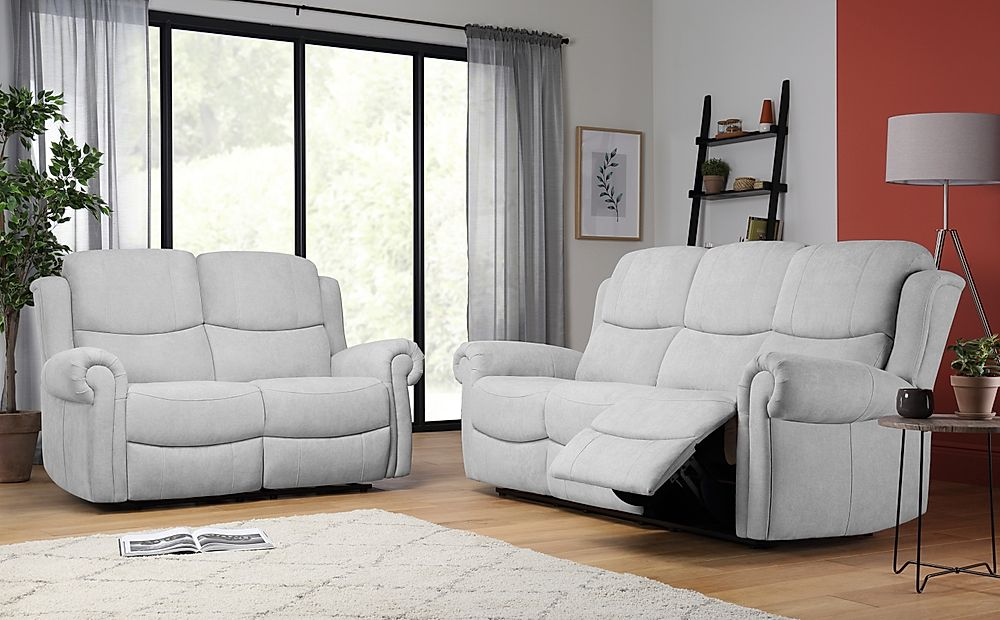 Hadlow Dove Grey Plush Fabric 3+2 Seater Recliner Sofa Set