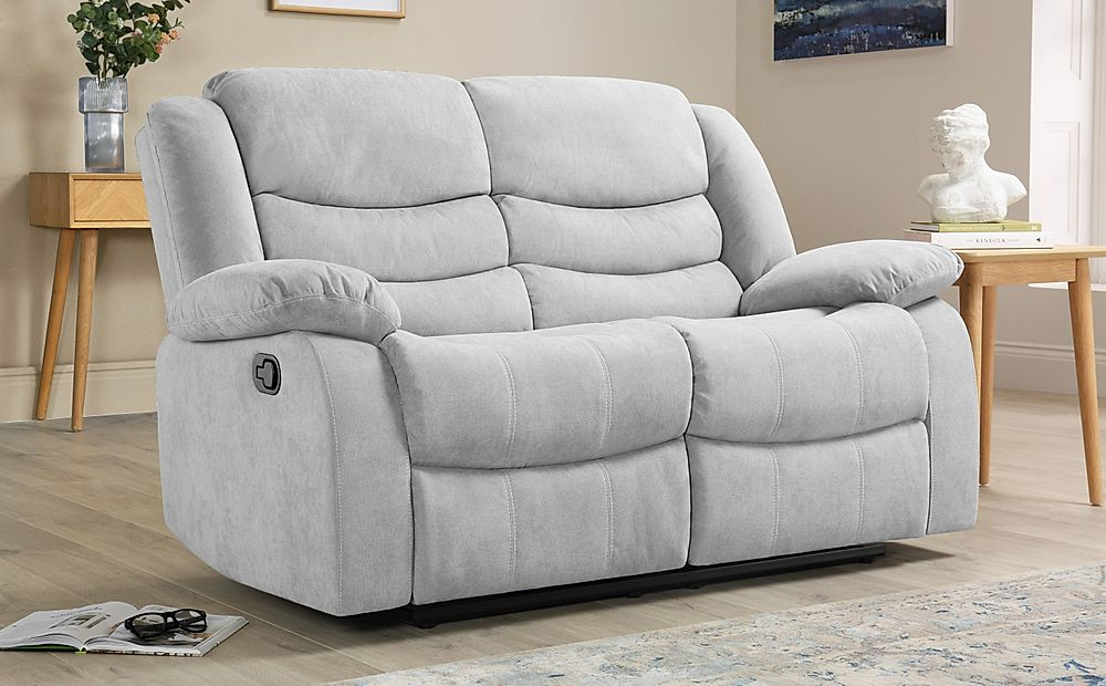 Sorrento Dove Grey Plush Fabric 2 Seater Recliner Sofa