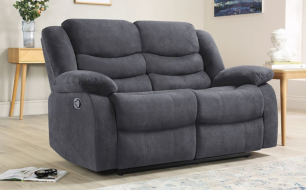 Sorrento Slate Grey Plush Fabric 2 Seater Recliner Sofa
