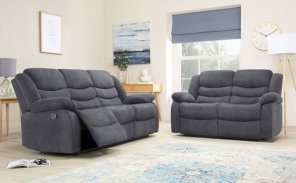 Sorrento Slate Grey Plush Fabric 3+2 Seater Recliner Sofa Set