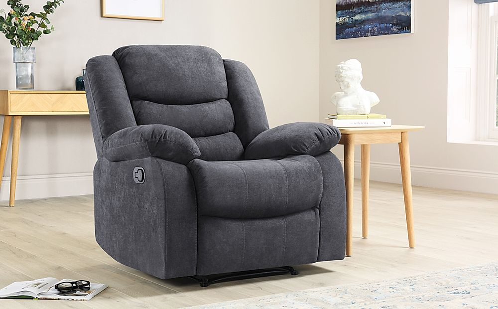 Sorrento Slate Grey Plush Fabric Recliner Armchair