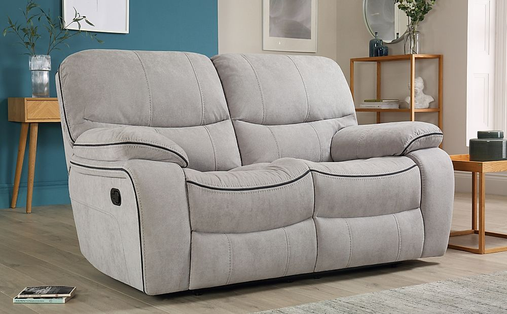 Beaumont Dove Grey Plush Fabric Recliner Sofa 2 Seater