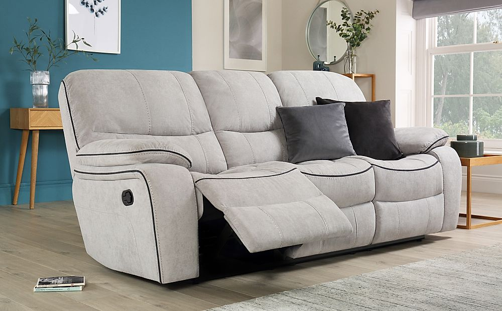 Beaumont Dove Grey Plush Fabric 3 Seater Recliner Sofa
