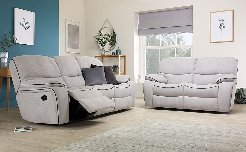Beaumont Dove Grey Plush Fabric Recliner Sofa 3+2 Seater