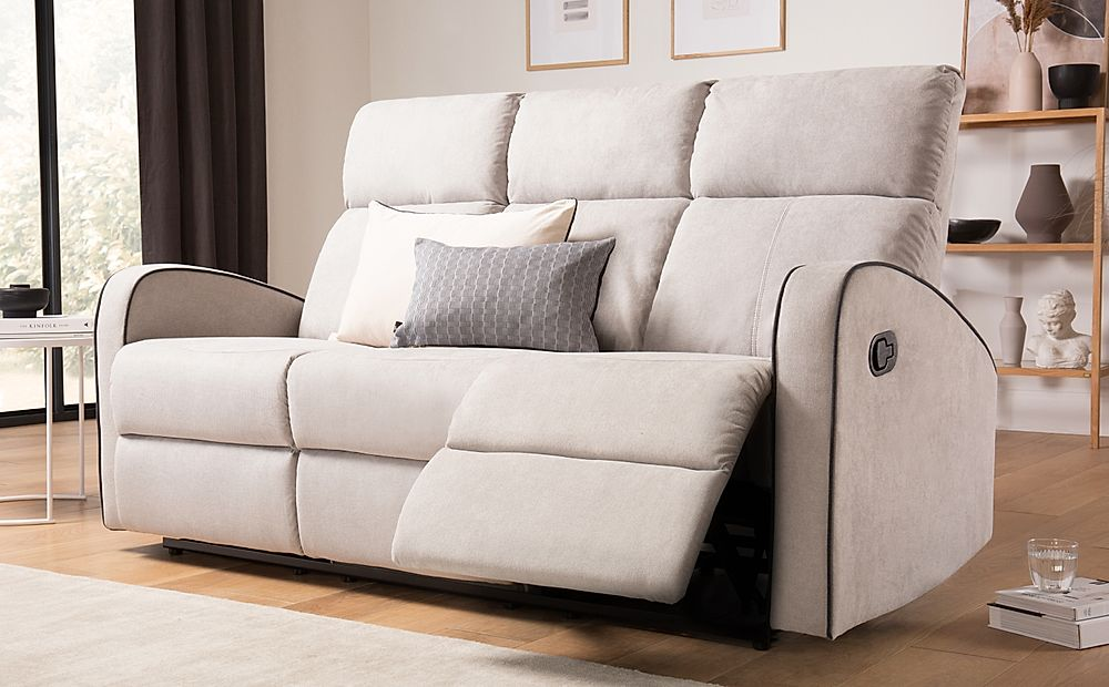 Ashby Dove Grey Plush Fabric 3 Seater Recliner Sofa