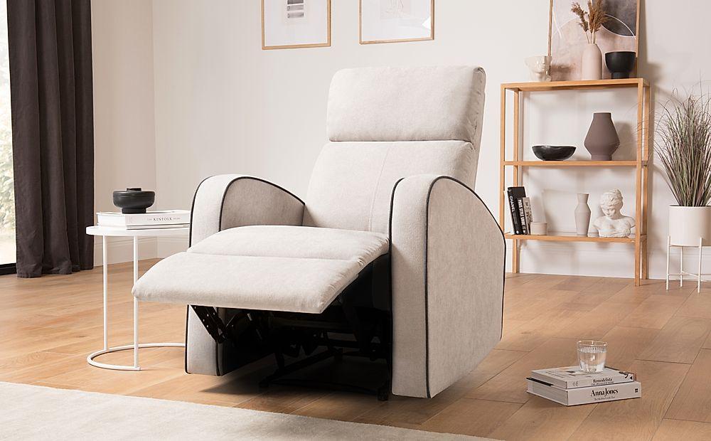 Ashby Dove Grey Plush Fabric Recliner Armchair
