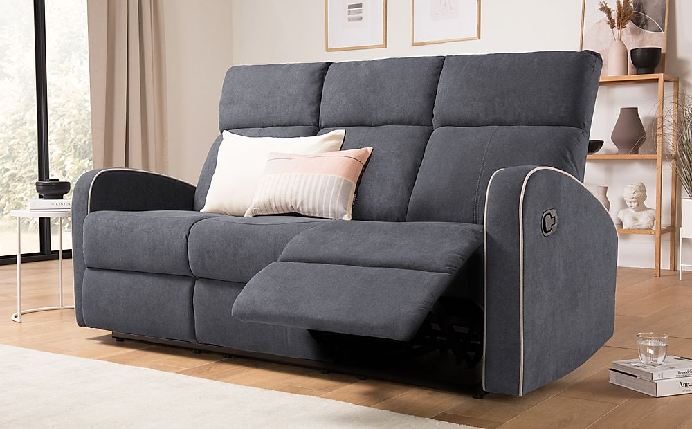 Ashby Slate Grey Plush Fabric 3 Seater Recliner Sofa