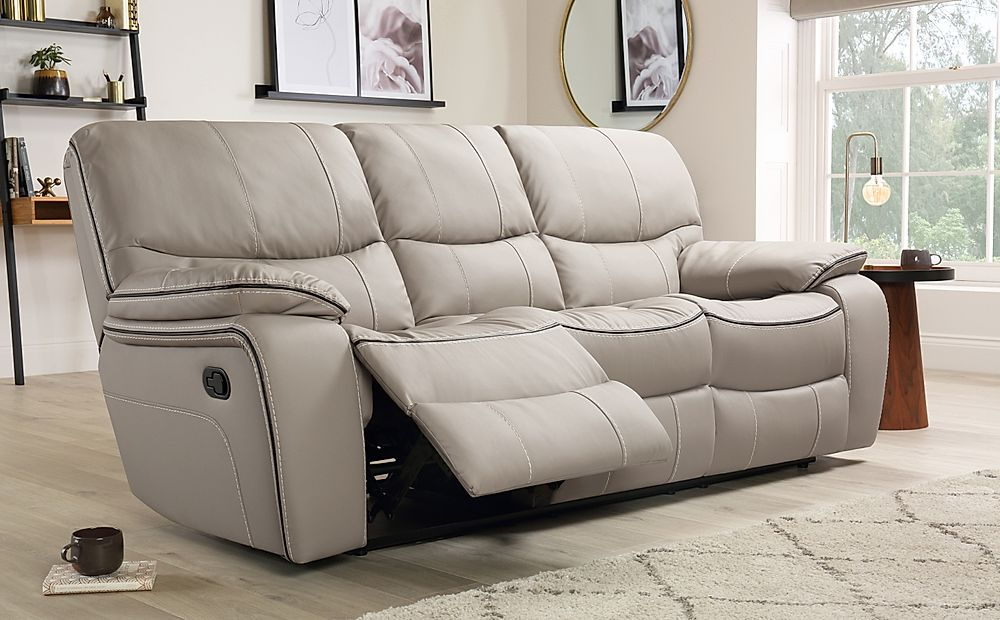 Beaumont Taupe Leather Recliner Sofa 3 Seater