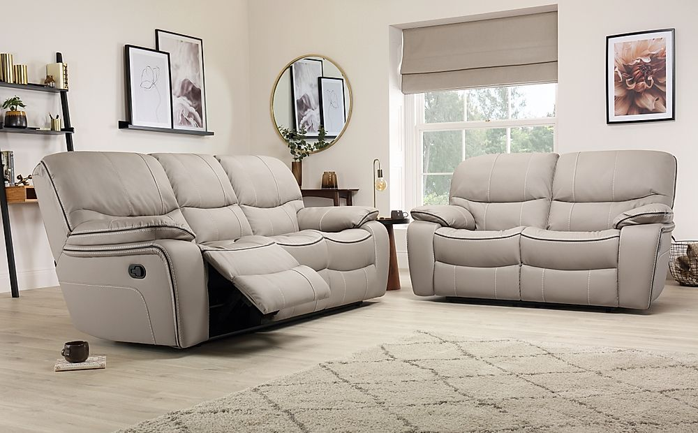 Beaumont Taupe Leather 3+2 Seater Recliner Sofa Set