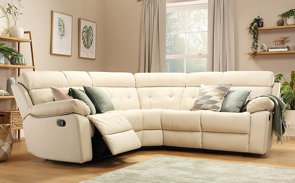 Grosvenor Ivory Leather Recliner Corner Sofa