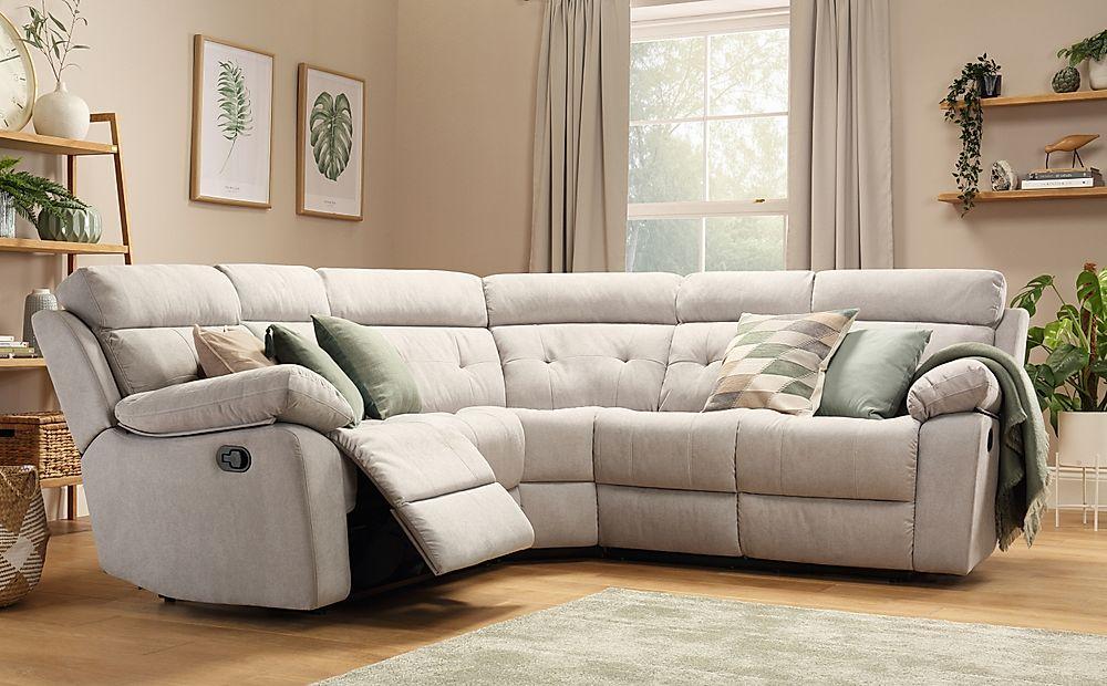 Grosvenor Dove Grey Plush Fabric Recliner Corner Sofa