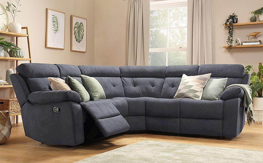 Grosvenor Slate Grey Plush Fabric Recliner Corner Sofa