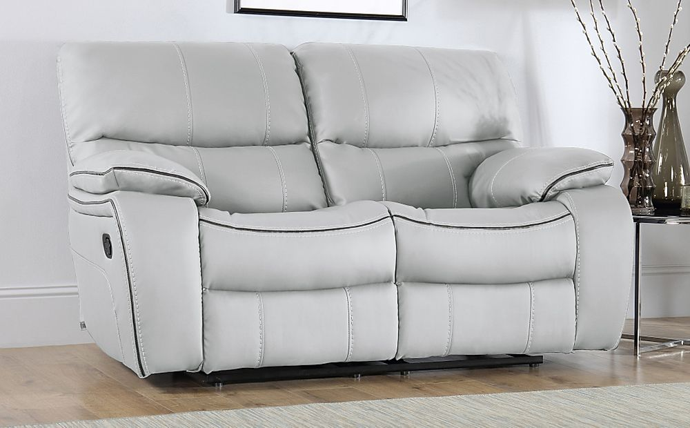 Beaumont Light Grey Leather 2 Seater Recliner Sofa