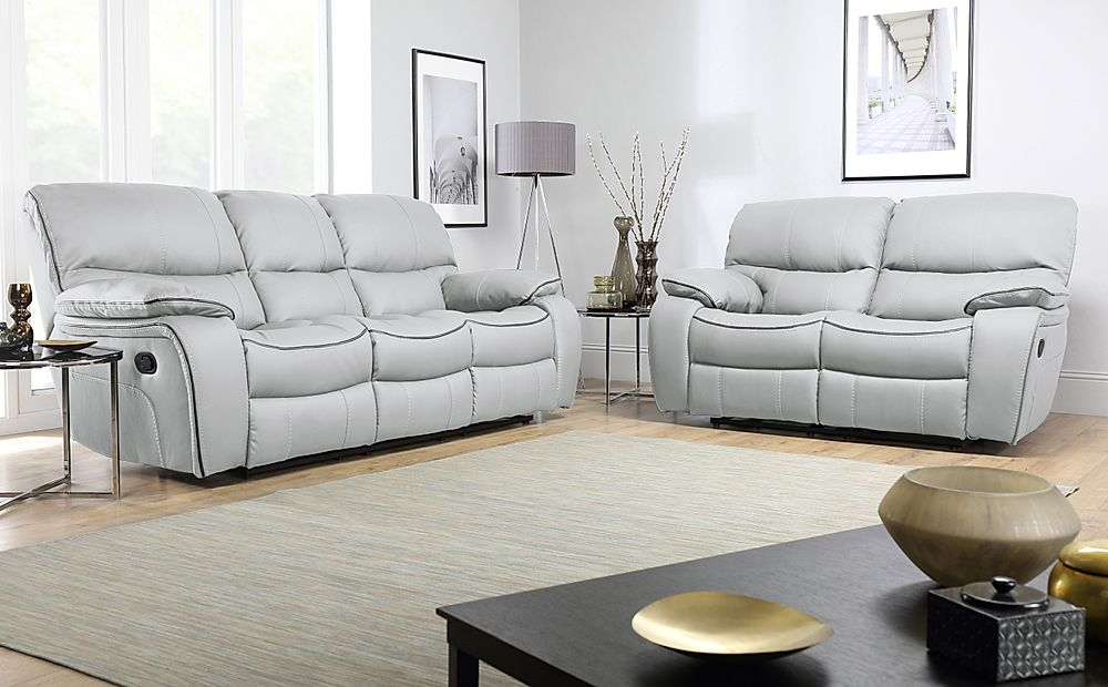 Beaumont Light Grey Leather 3+2 Seater Recliner Sofa Set