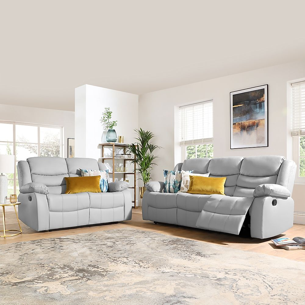 Sorrento Light Grey Leather 3+2 Seater Recliner Sofa Set