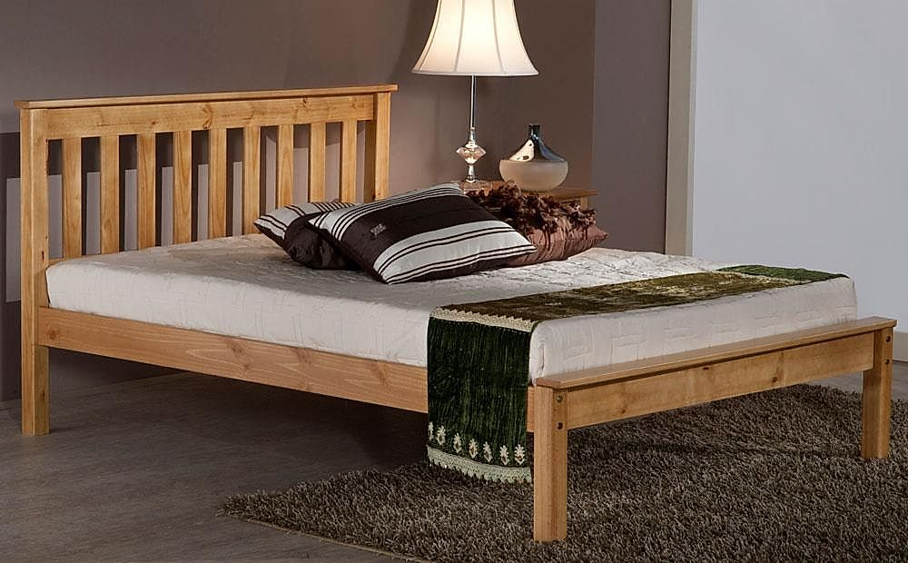 Denver Antique Pine Wooden Small Double Bed