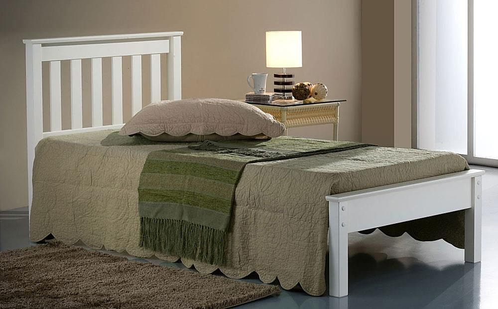 Denver White Wooden Single Bed