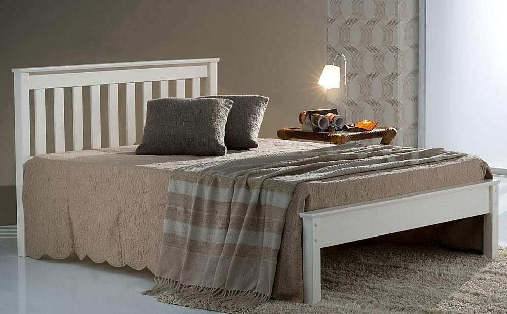 Denver White Wooden Double Bed