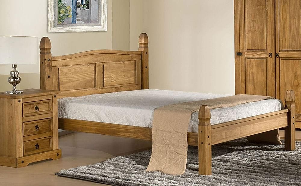 Corona Wooden Small Double Bed with Low Foot End