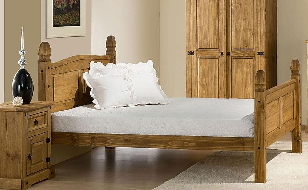 Corona Wooden Small Double Bed (High Foot End)