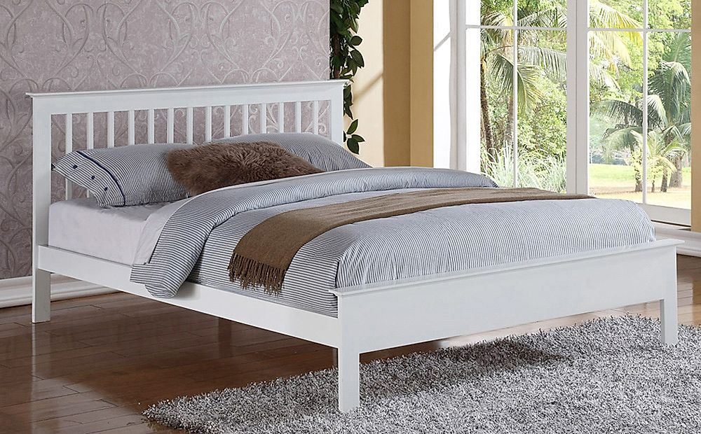 Pentre White Wooden Super King Size Bed