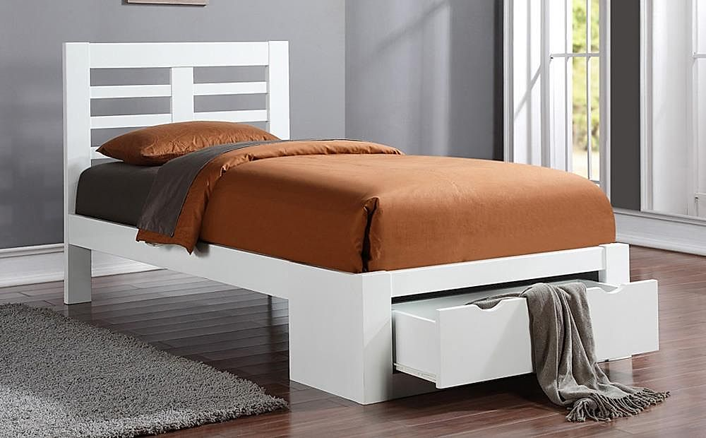 Bretton White Wooden End Drawer Single Bed