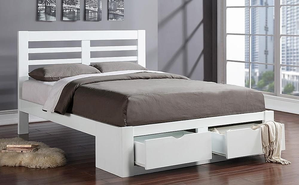 Bretton White Wooden End Drawer Double Bed