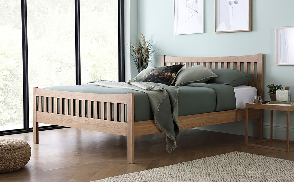 Bergamo Solid Oak Wooden Double Bed