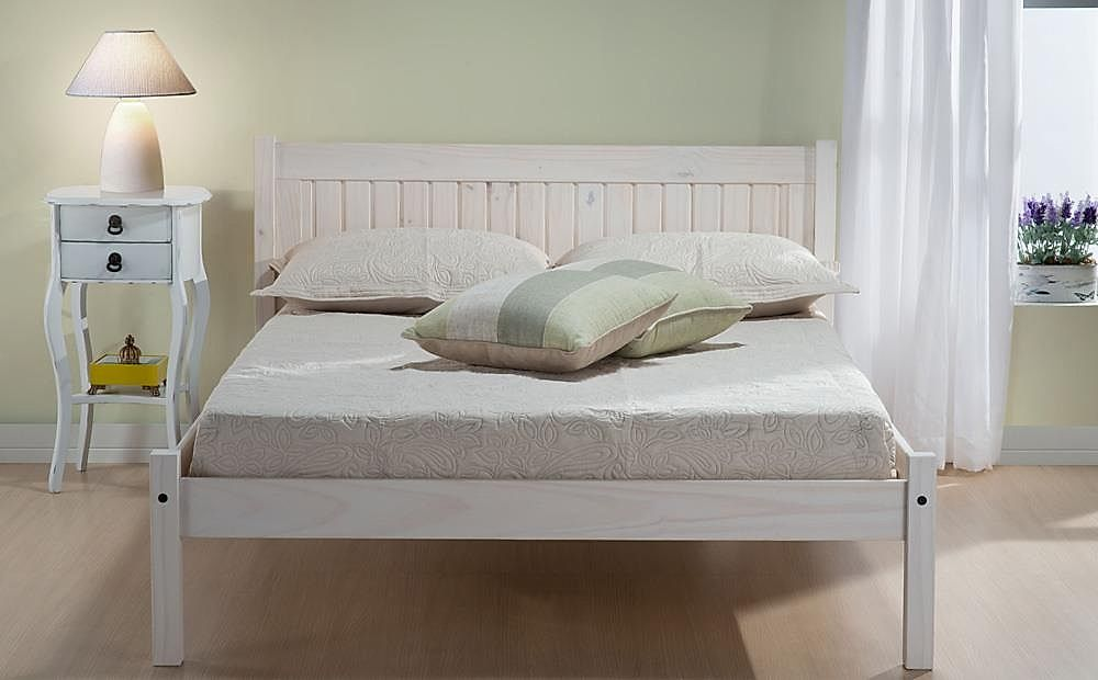 Rio White Washed Wooden Double Bed