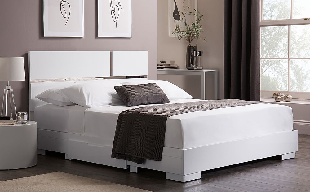 Asti White High Gloss Bed with 2 Drawers Double