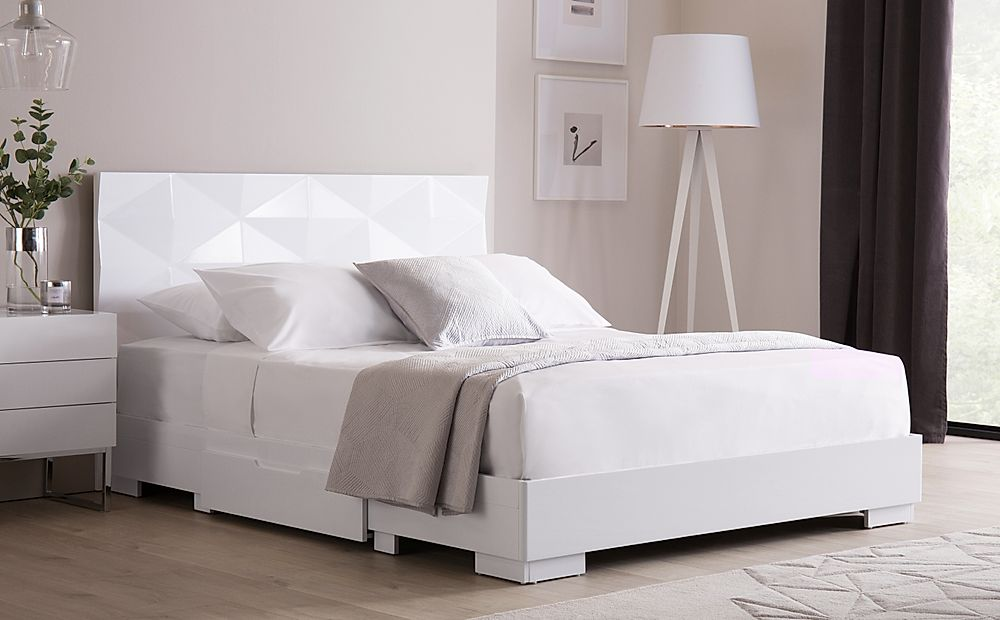 Rimini White High Gloss Bed with 2 Drawers King Size