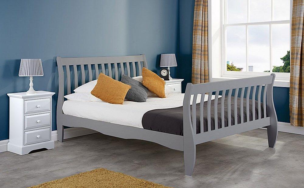 Belford Grey Wooden Sleigh Bed - Double