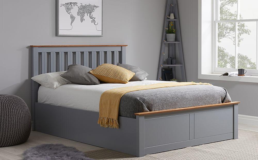 Phoenix Grey Wooden Ottoman Storage Bed Double Furniture