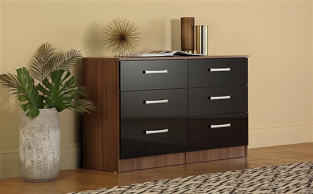 Lynx Walnut and Black High Gloss 6 Drawer Chest of Drawers