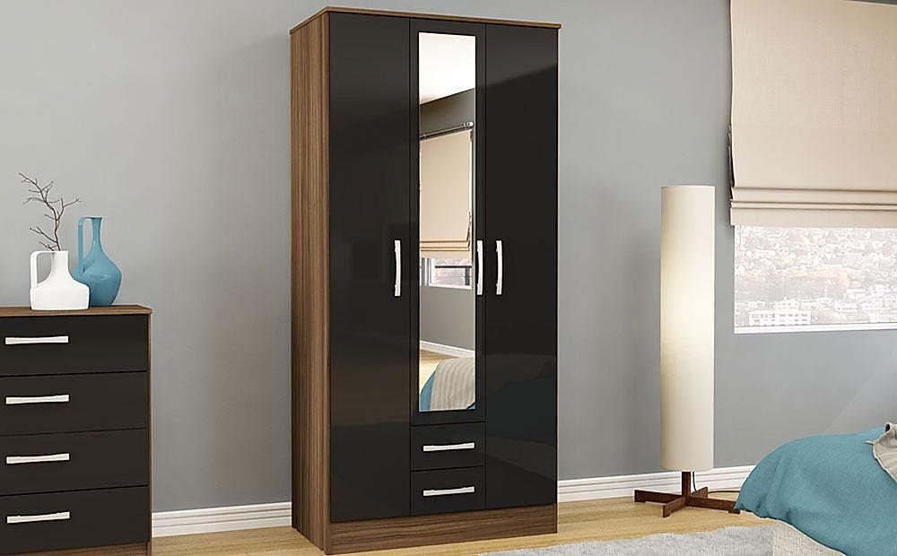 Lynx Walnut & Black High Gloss Combination Wardrobe With Mirror