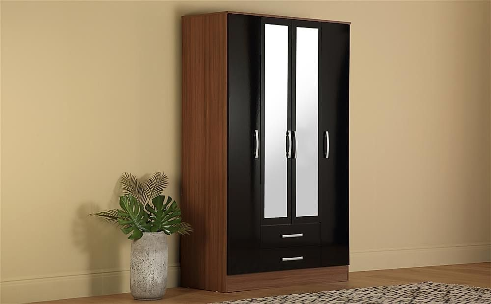 Lynx Walnut and Black High Gloss 4 Door 2 Drawer Wardrobe with Mirrors