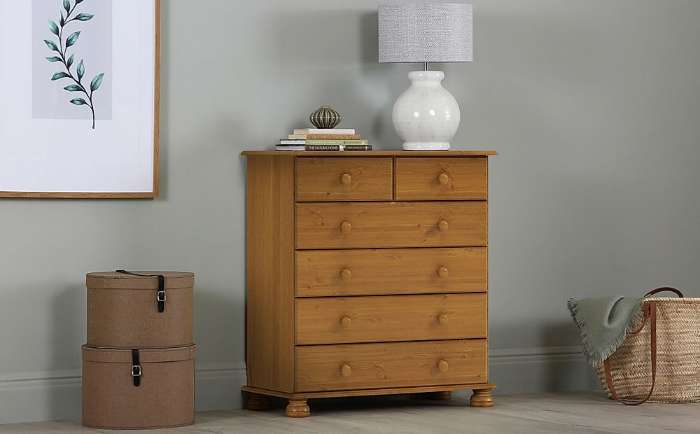 Steens Richmond Pine 6 Drawer Tall Narrow Chest of Drawers 82cm