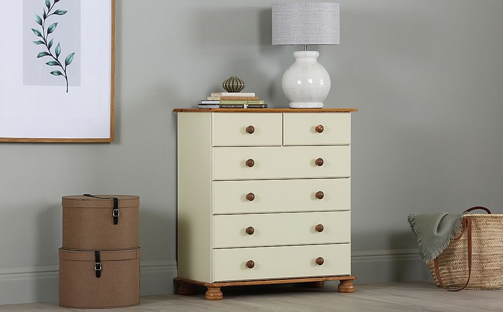 Steens Richmond Cream and Pine 6 Drawer Tall Narrow Chest of Drawers 82cm