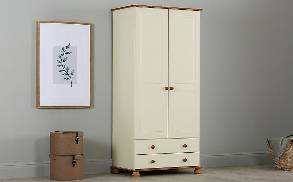 Evesham Cream & Pine 2 Door 2 Drawer Wardrobe