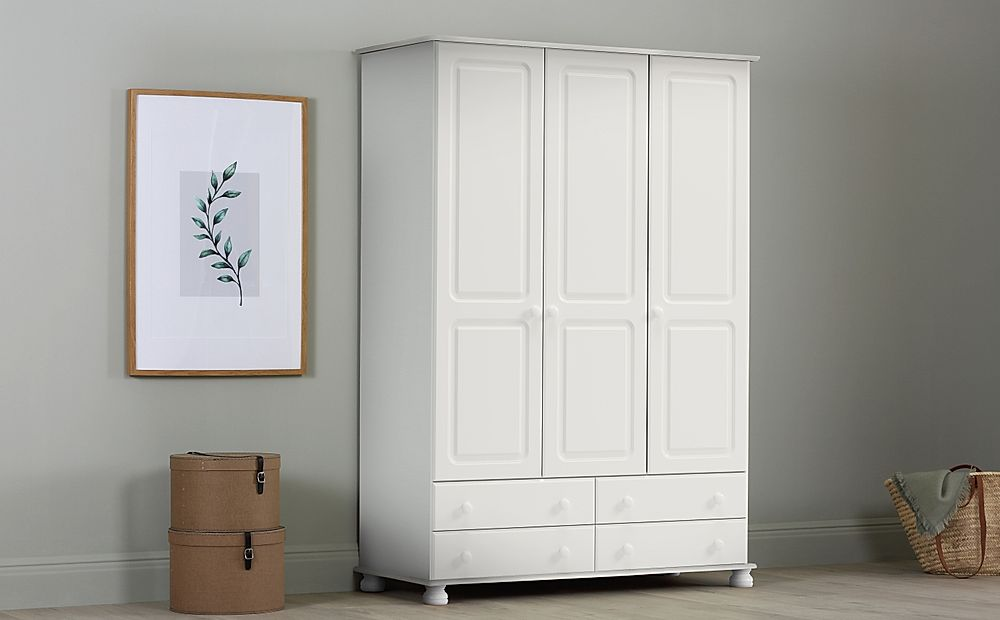 Steens Richmond White 3 Door, 4 Drawer Wardrobe