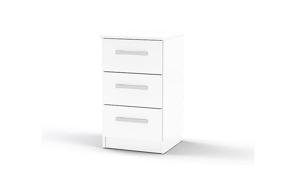 Lynx White High Gloss 3 Drawer Bedside Table