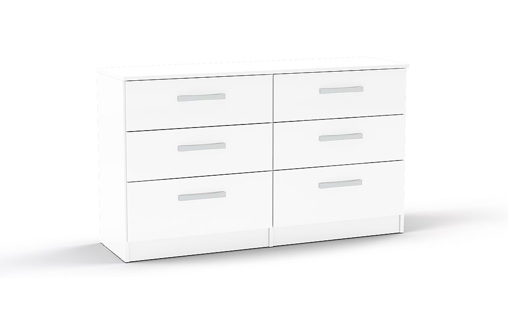 Lynx White High Gloss 6 Drawer Chest of Drawers