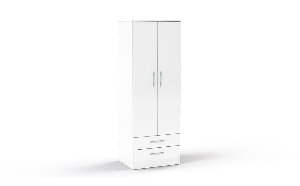 Lynx White High Gloss 2 Door Combi Wardrobe