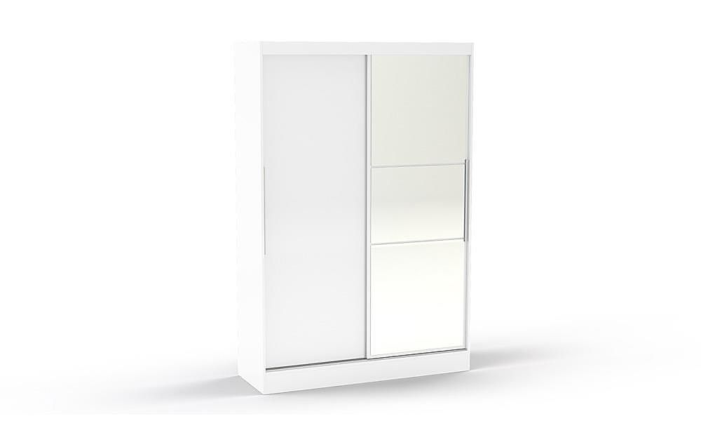 Lynx White High Gloss 2 Door Sliding Wardrobe with Mirror 196cm
