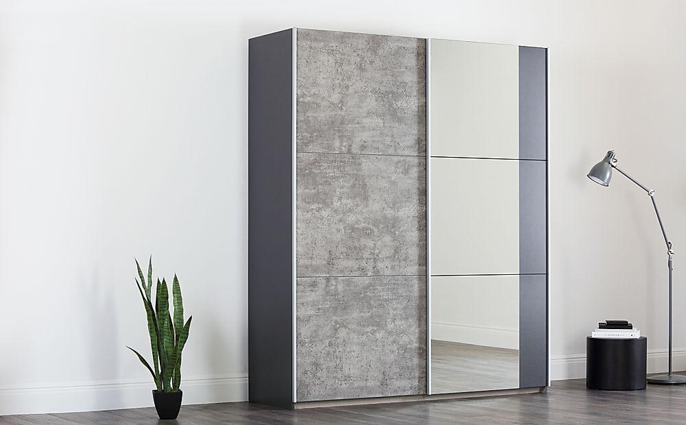 Rauch Lenny Black & Grey 2 Door Sliding Wardrobe 175cm