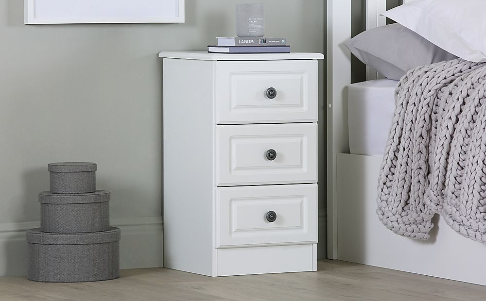 Pembroke White 3 Drawer Bedside Table
